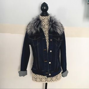 Faux fur lined jean jacket